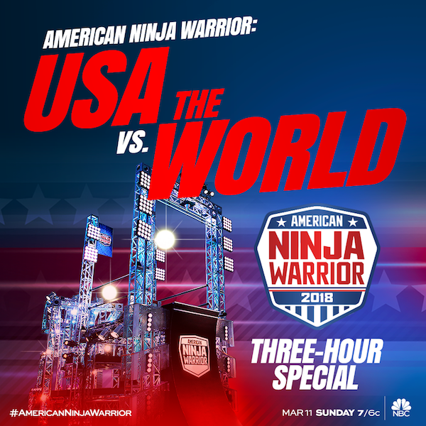 USA vs the World from American Ninja Warrior special will air March 11th, 2018