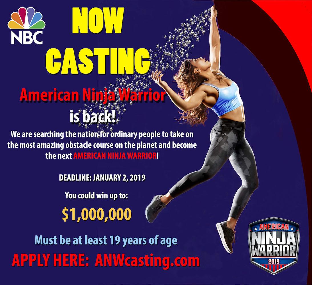 Applications open for casting of Season 11 of American Ninja Warrior in 2019