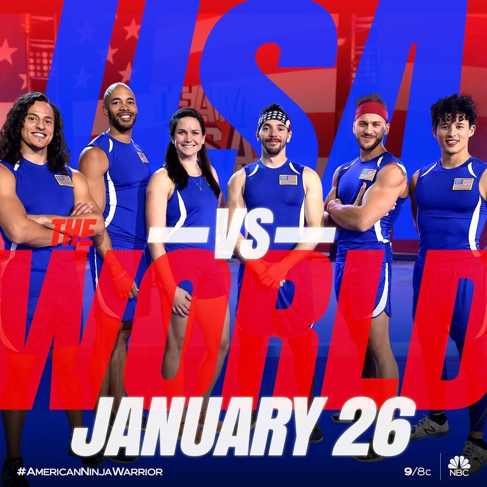 American Ninja Warrior: USA vs The World 2020 to air Sunday, January 26th at 9pm Eastern on NBC