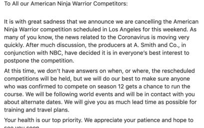 American Ninja Warrior taping in Los Angeles postponed due to coronavirus COVID-19
