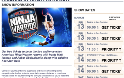 Free Audience Tickets available for Los Angeles taping of American Ninja Warrior Season 12  in 2020